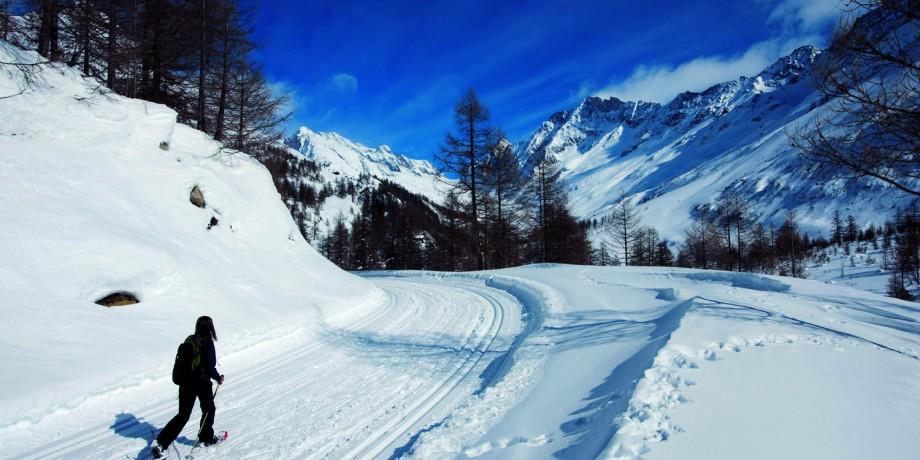 The Lauchernalp snowshoe trail, 5 km