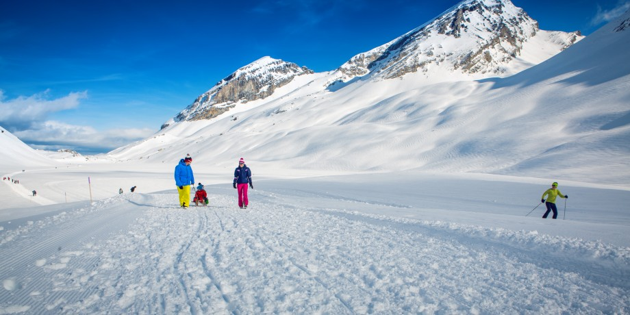 Alpine pass hike in winter