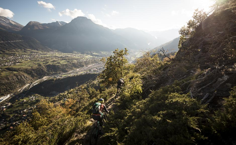 Mountainbikers on trails above Brig, Valais