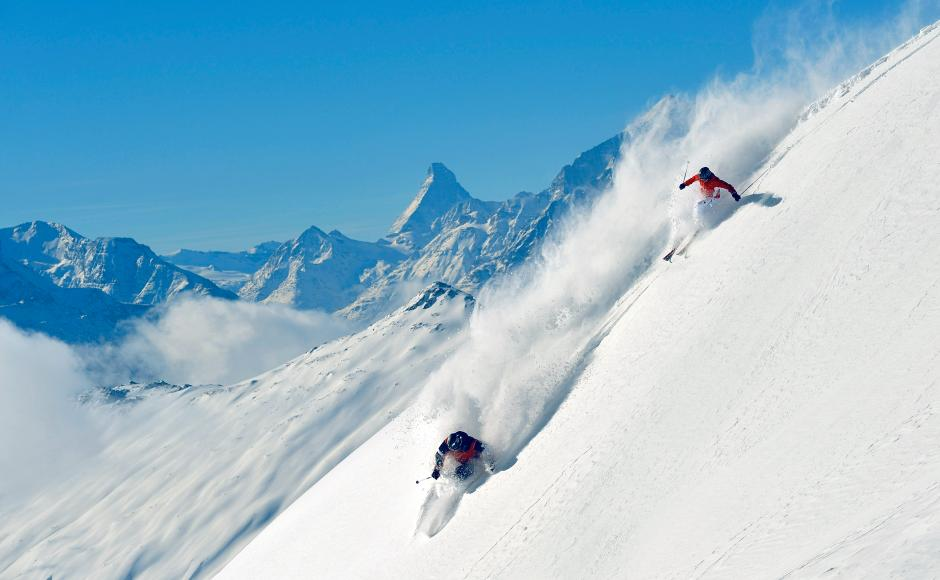 Skiers at the Belalp, Valais