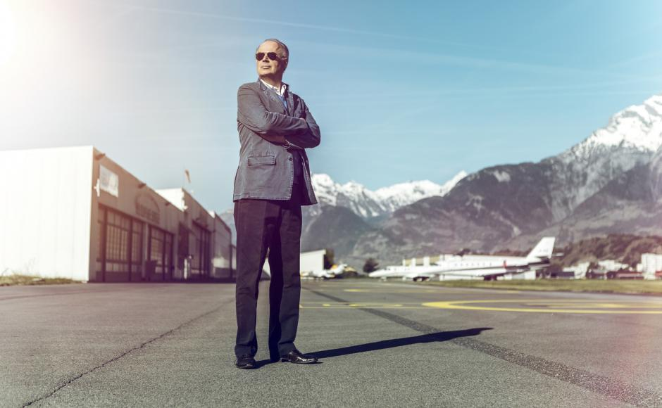 Martin Engstroem at Sion airport, Valais' gateway to the world
