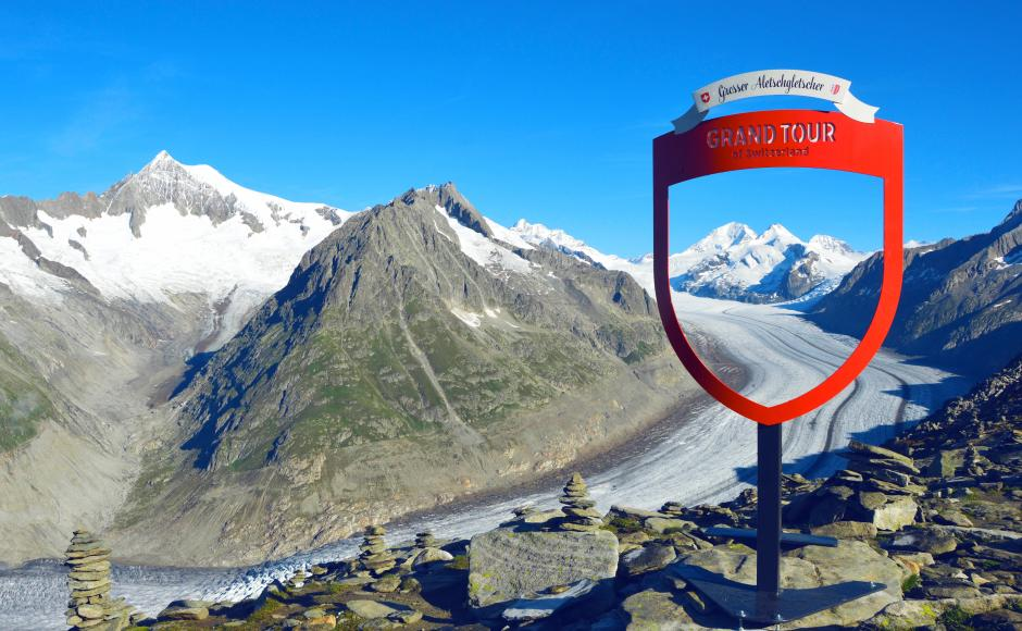 Fotospot beim Aletschgletscher, Grand Tour of Switzerland, Aletsch Arena, Wallis