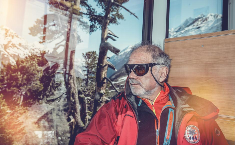 Bruno Jelk in the Gornergrat cogweehl train, Zermatt, Valais
