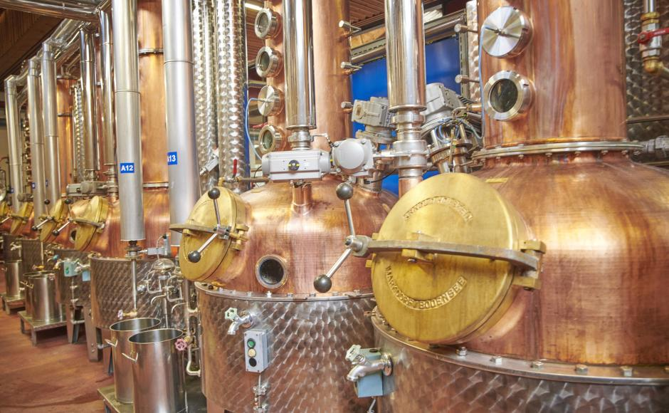 In these copper kettles the precious Eaux de Vie from the mash of fruits are distilled.