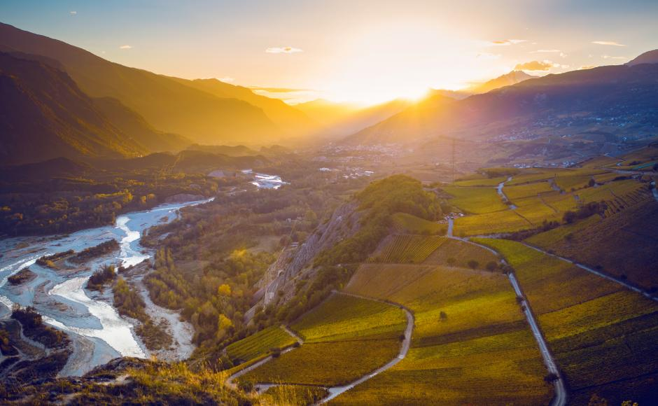 Sunset in Varen, Valais