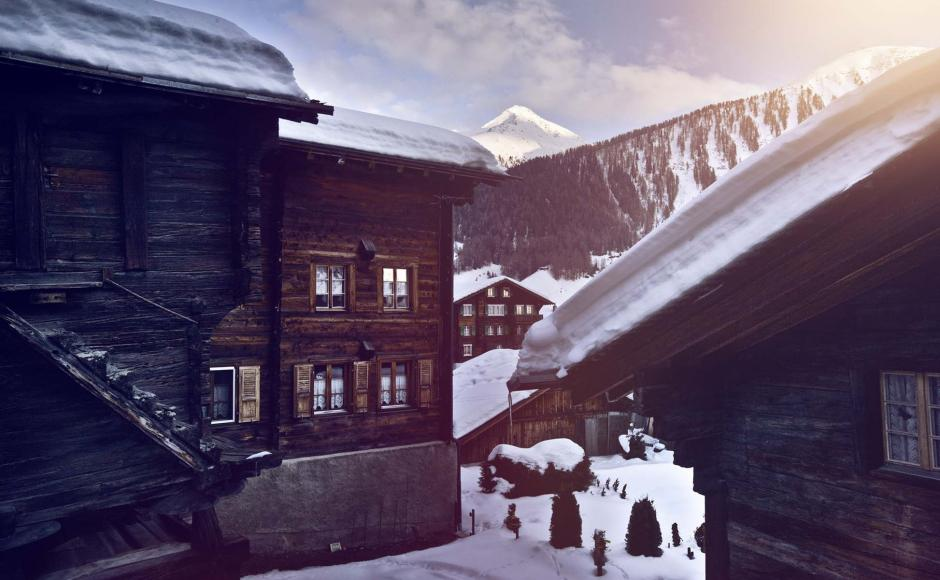 Typical swiss chalet in winter, Reckingen, Valais