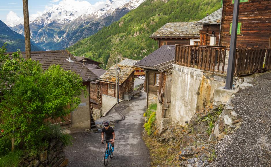 Road cycling in the village of Törbel, Valais Cycling Tour