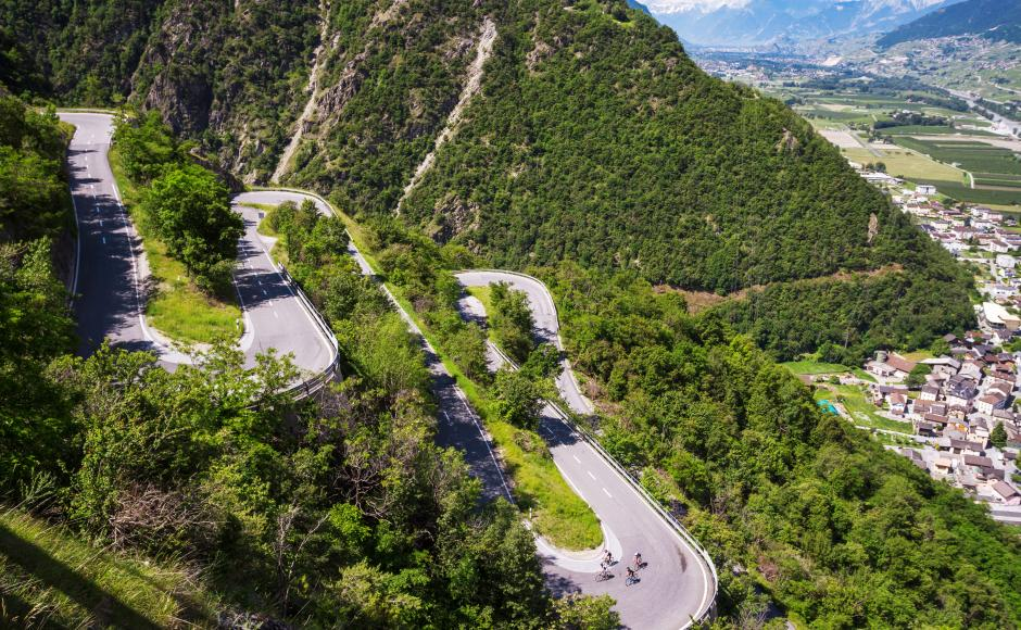Road with switchbacks on Upper Valais, Valais Cycling Tour
