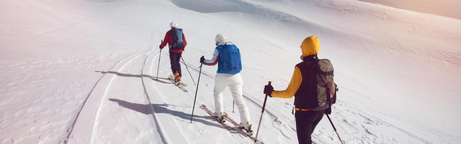 Group of ski-tourers ascending the Gandhorn at Binntal, Valais