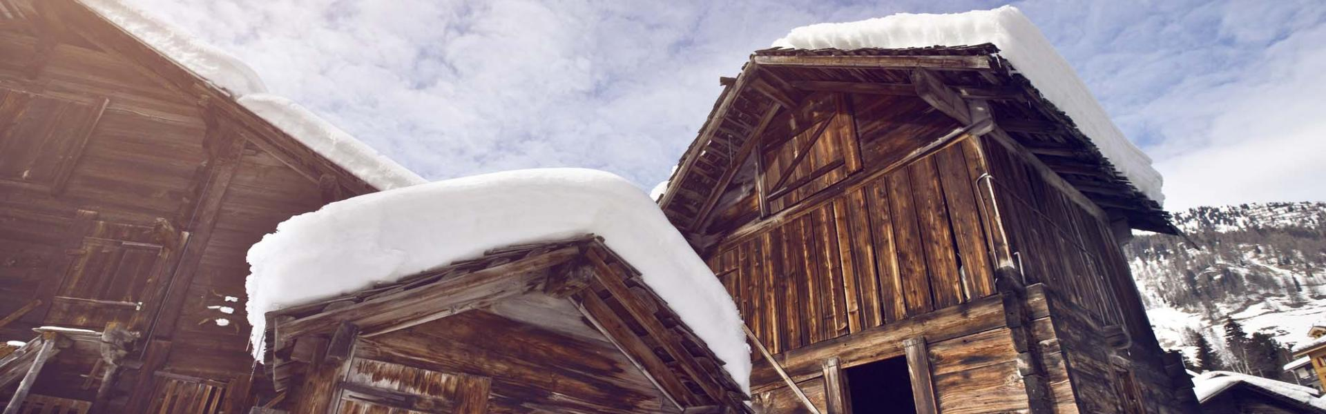 Typical swiss village in winter, Reckingen, Valais