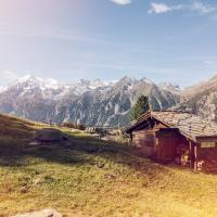 Mountain hut in Grächen, summer in Valais, swiss alps, Switzerland