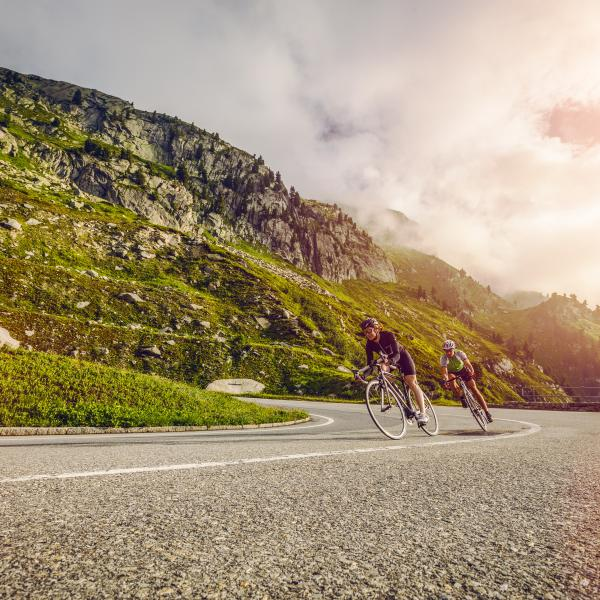 Cycling at the Grimsel pass, Valais