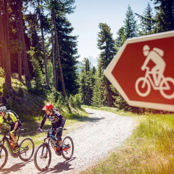 Signage to guide e-bike riders to find their way, Valais Switzerland