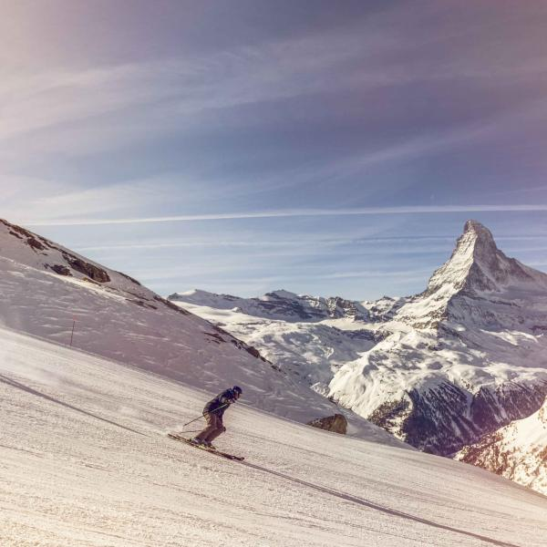 Ski down the Zermatt slopes with a magnificent view of the Matterhorn, Valais Switzerland