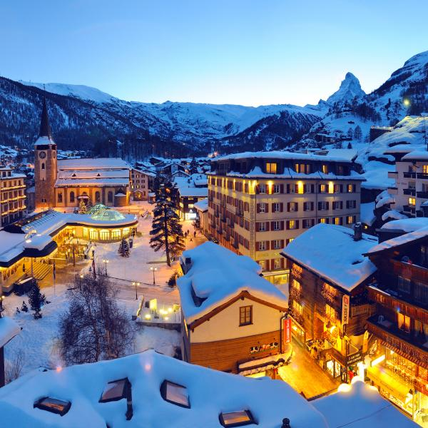 Village Zermatt during winter, nightfall, Valais