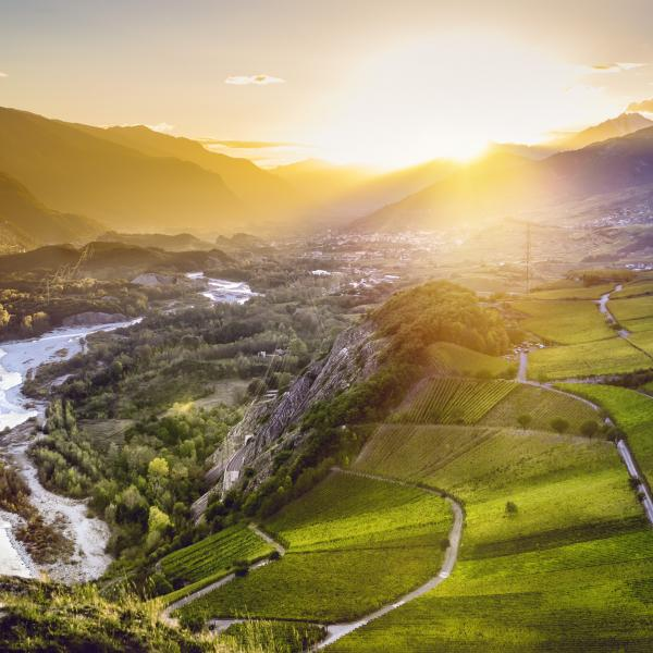 Sunset in Valais with view on the Rhone Valley