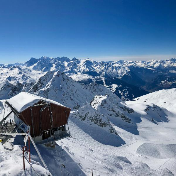 view from nendaz on the snowy mountains, Valais, ski, winter, snow, mountain railway
