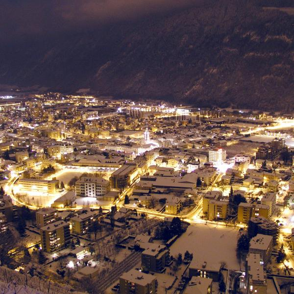 Village Martigny during the night in winter, Valais