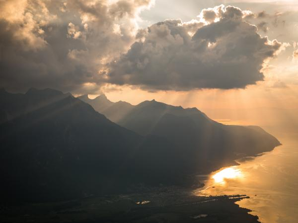 Aerial view of the Grammont and Leman Lake. Valais Switzerland