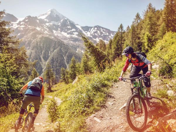 The student follows his guide on a mountain bike ride down the Lötschental., Valais Wallis Schweiz Suisse