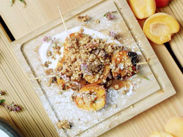 Apricot skewers with hazelnut crumble,  Recipes, Valais, Switzerland