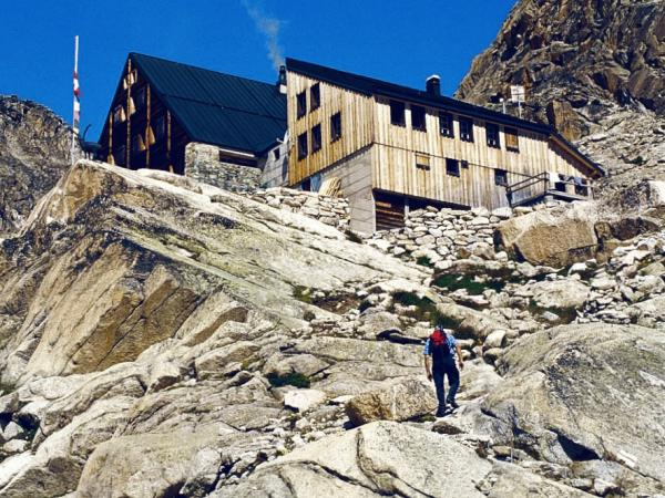 Cabane d'Orny CAS, mountain hut at the swiss alps in Valais