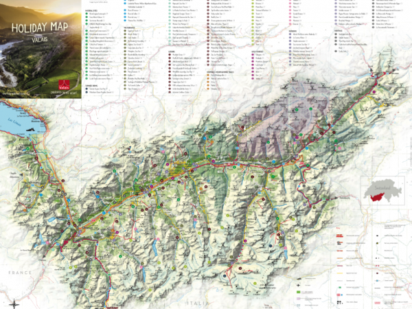 Holiday map of Valais, points of interest in Valais