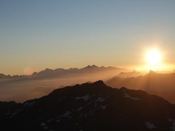 Sunrise at Mont-Fort with a view of the mountains in the early morning, Valais Switzerland