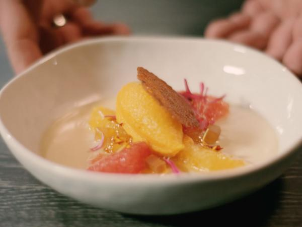 Dessert Panna cotta with citrus fruit and pumpkin ice cream, Valais, Switzerland