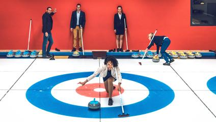 Curling in Valais, winter, wintersports