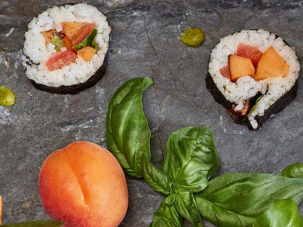 Valais Sushi with tomatoes and apricots, Valais, Switzerland