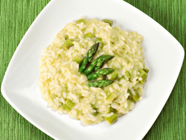 Recipes Risotto with asparagus grown in Valais Wallis Schweiz Switzerland Suisse