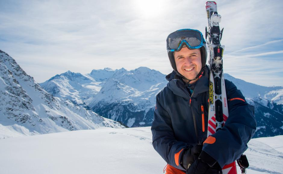 Tom Lüthi skiing in Verbier, Valais