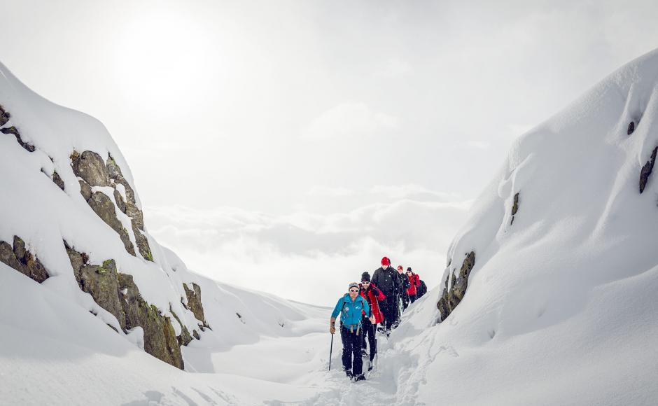 Snowshoeing, winter, Valais